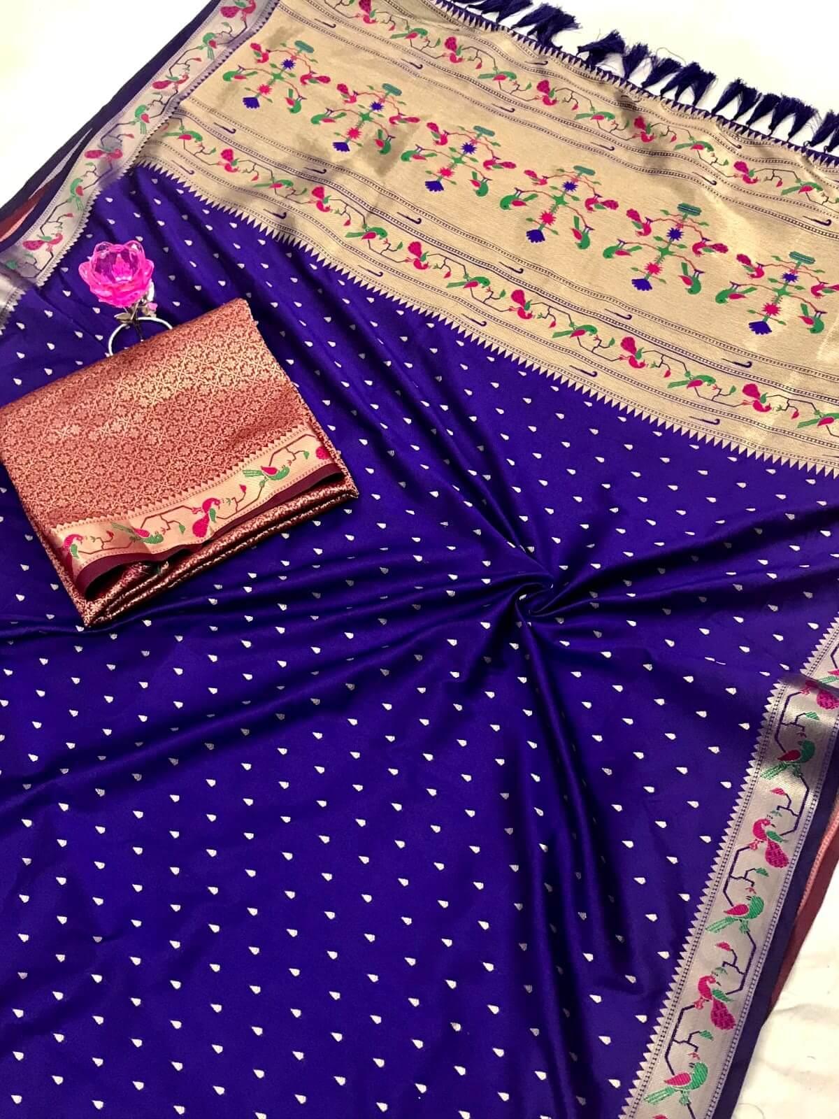 Women's Blue Kanjivaram Paithani Silk Traditional saree dvz0002663
