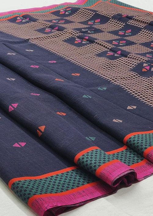 Women's Blue Linen silk saree - Linen silk sarees india - dvz000052