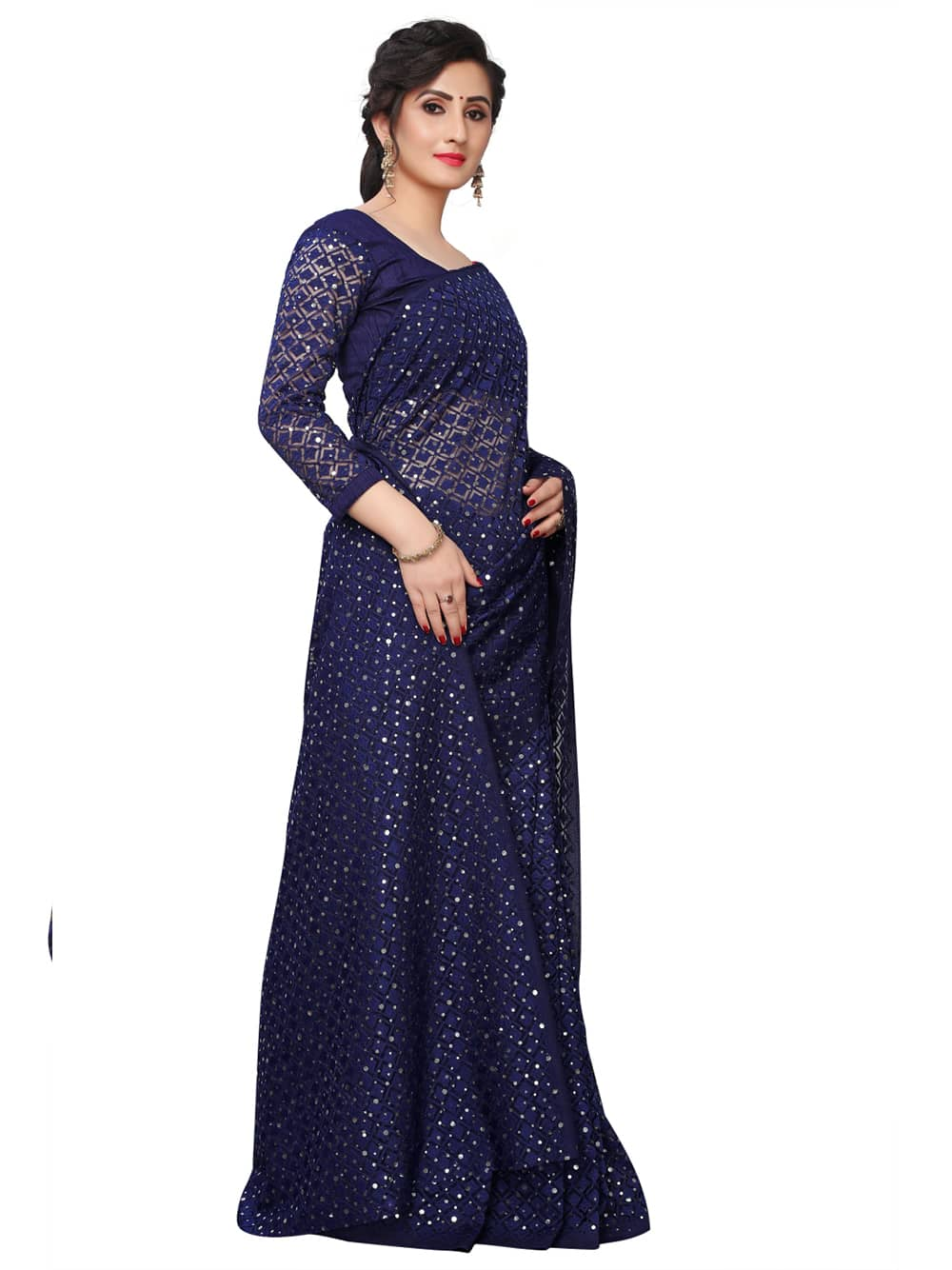 Women's Blue Soft Net Jacquard Saree with Beautiful Sequence work dvz0001370
