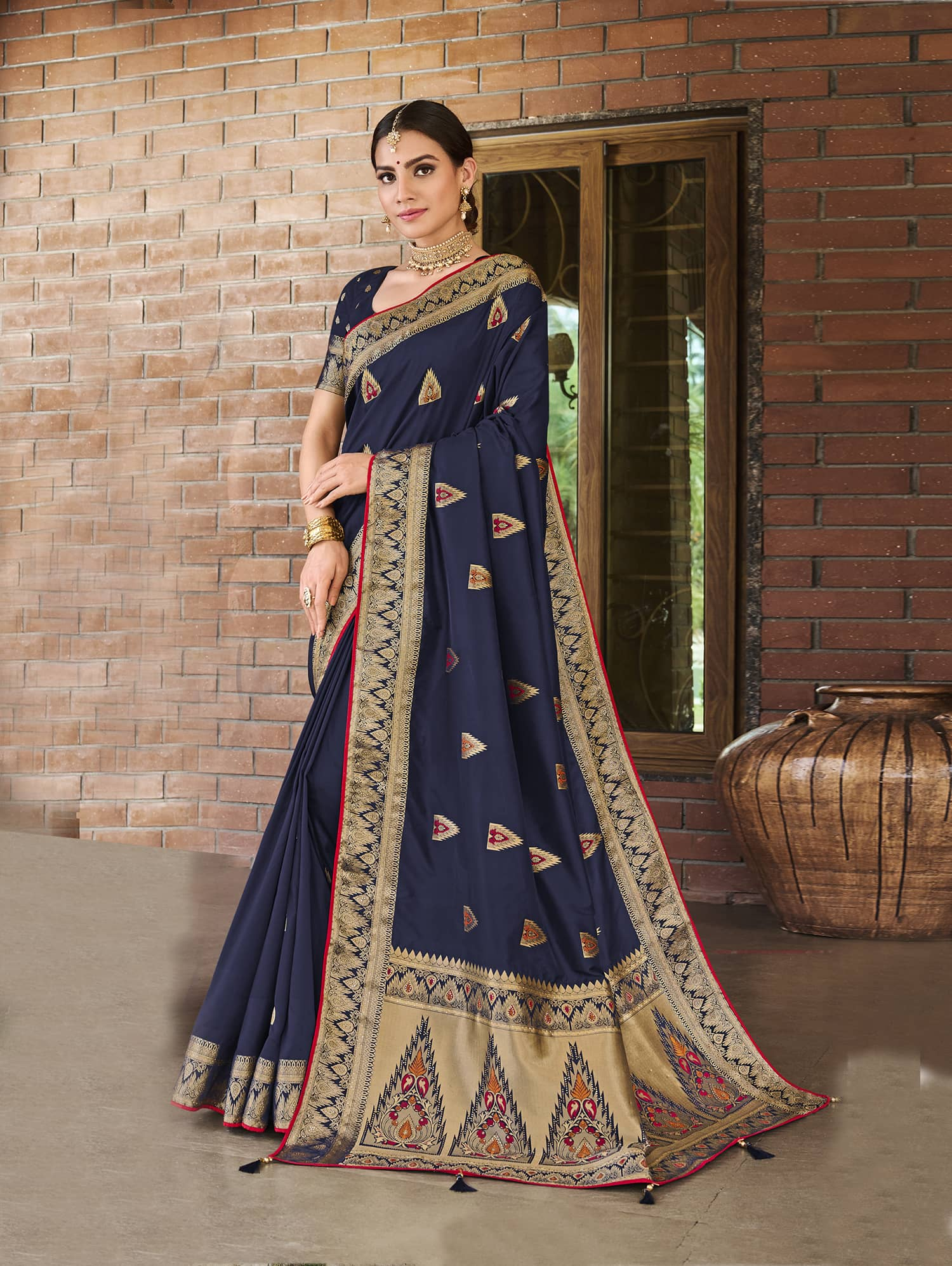 Women's Blue Soft silk saree dvz0002352