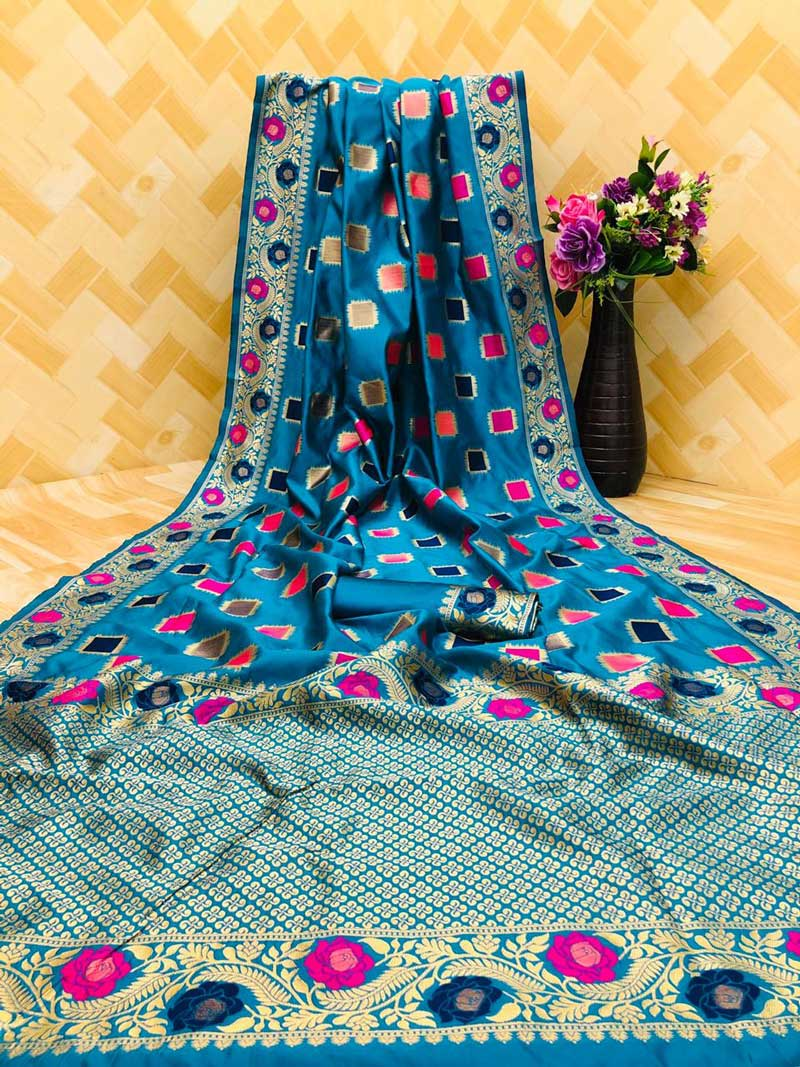 Women's Blue zari weaving Party wear saree dvz0001294