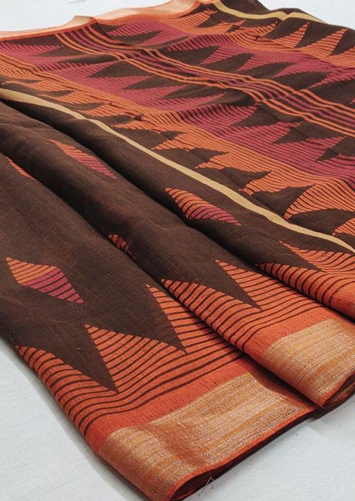 Women's Brown Linen silk saree - Linen silk sarees india - dvz000053
