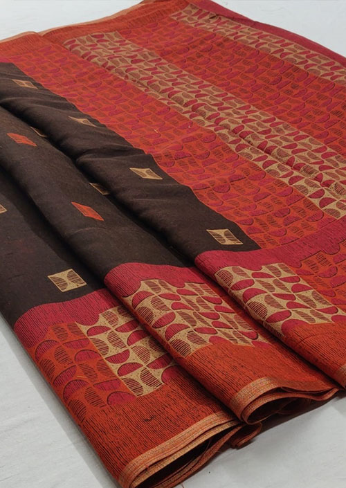 Women's Brown Linen silk saree - Linen silk sarees india - dvz000054