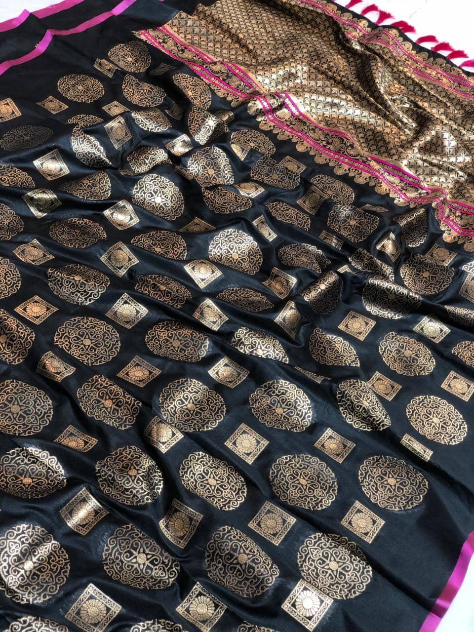 Womens Designer Banarasi silk saree with Blouse (Black) dvz0001629