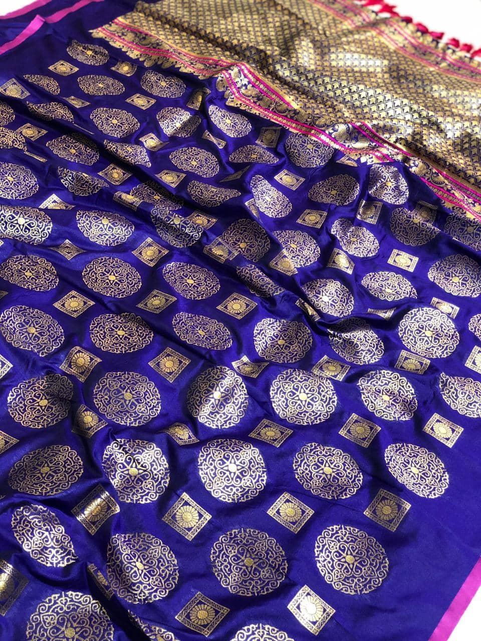 Womens Designer Banarasi silk saree with Blouse (Purple) dvz0001630