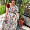Women's Digital web Printed Linen saree dvz0001938