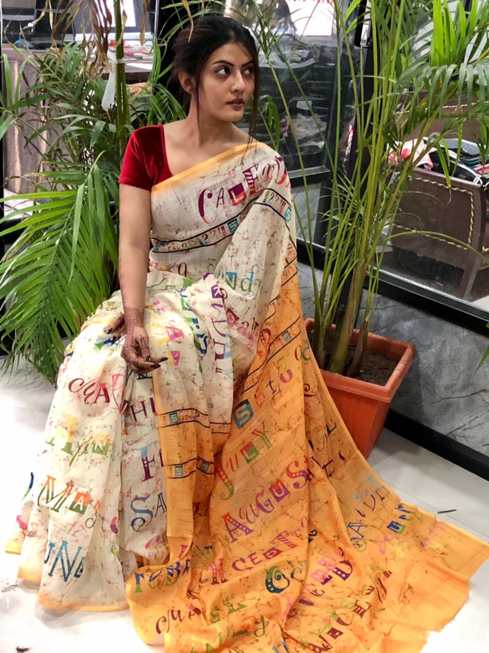 Women's Digital web Printed Linen saree dvz0001940