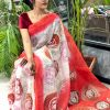 Women's Digital web Printed Linen saree dvz0001941