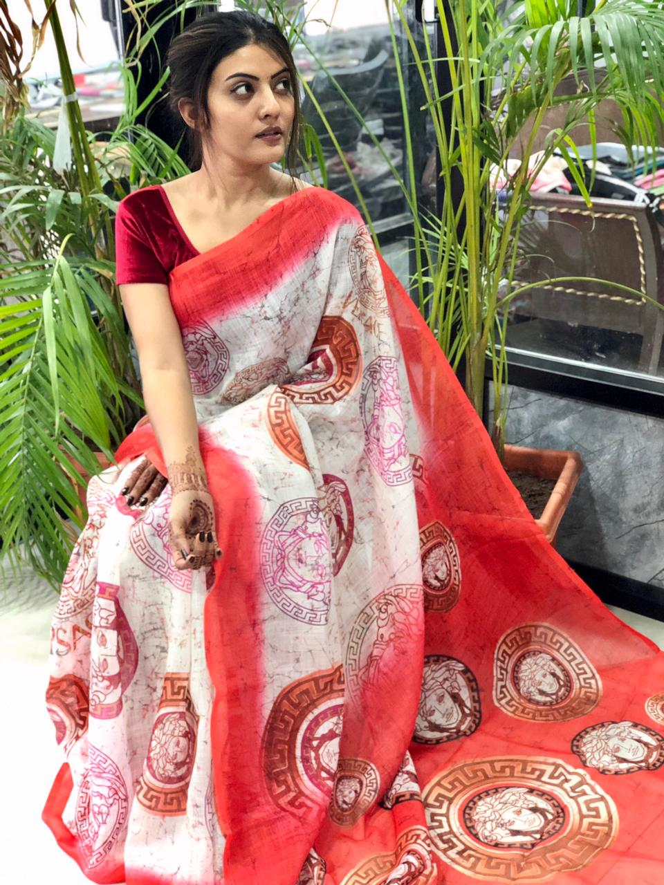 Women's Digital web Printed Linen saree dvz0001941