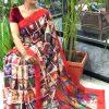 Women's Digital web Printed Linen saree dvz0001942