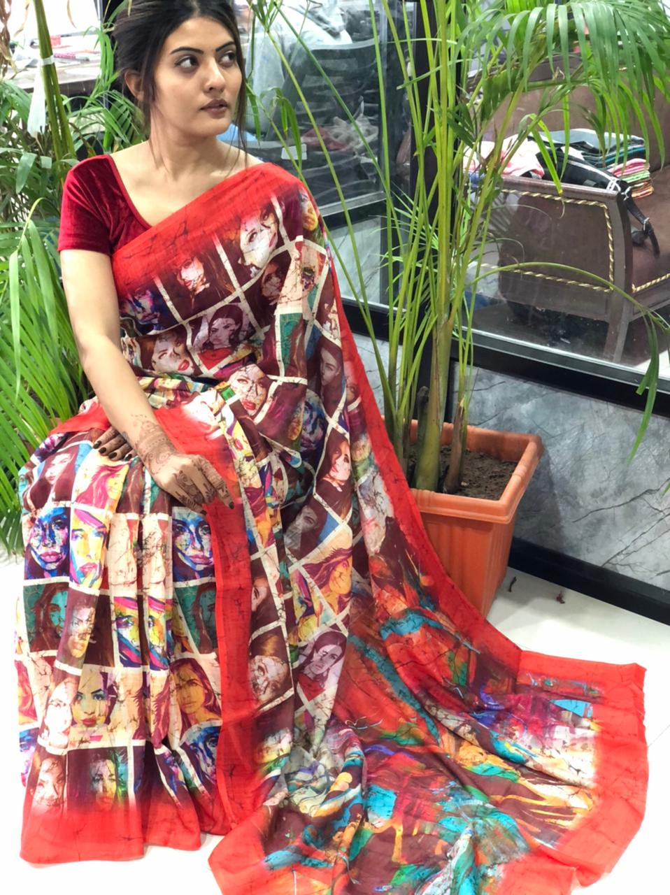 Women's Digital web Printed Linen saree dvz0001942