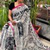 Women's Digital web Printed Linen saree dvz0001943