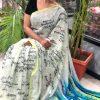 Women's Digital web Printed Linen saree dvz0001945