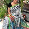 Women's Digital web Printed Linen saree dvz0001950