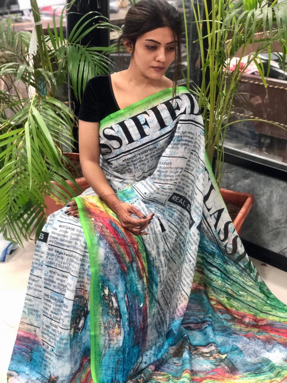 Women's Digital web Printed Linen saree dvz0001950