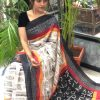 Women's Digital web Printed Linen saree dvz0001951