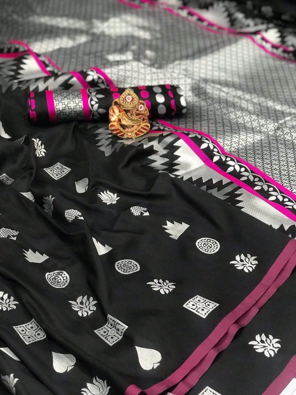 Women's Gorgeous Black Lichi Silk indian Saree dvz0002420