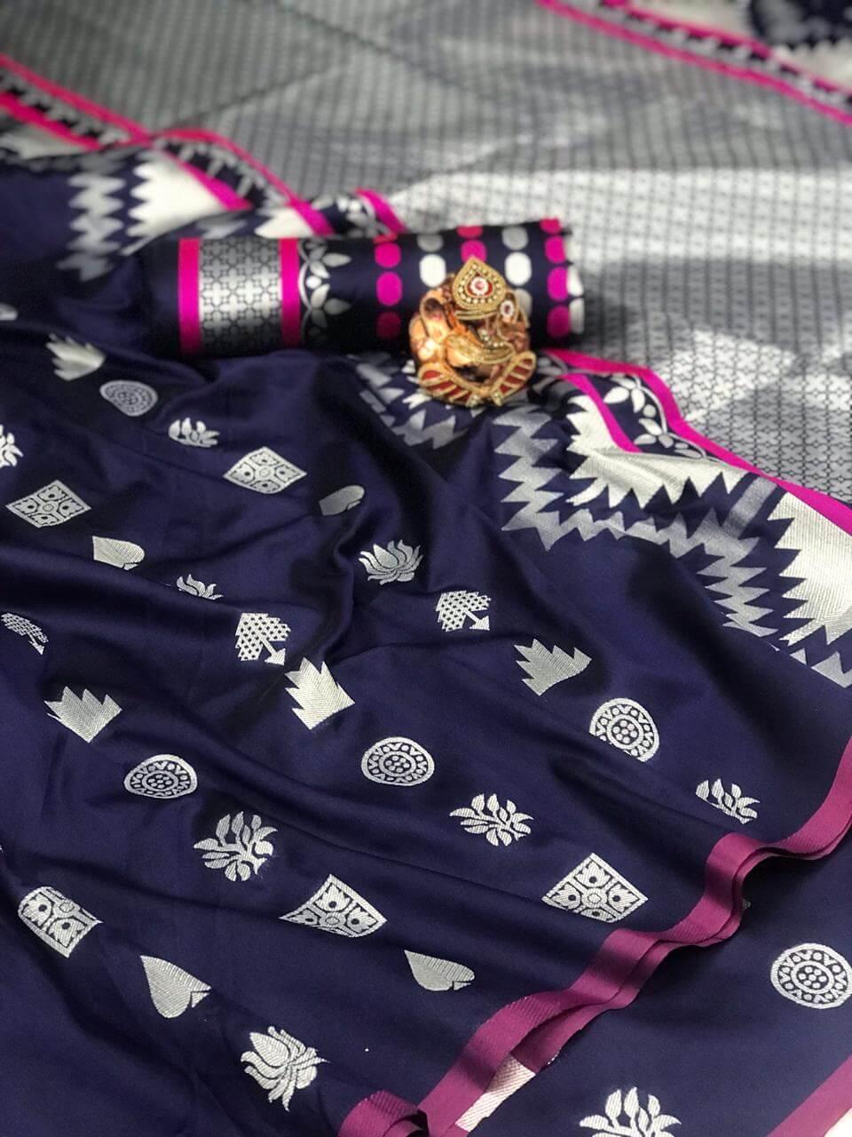 Women's Gorgeous Blue Lichi Silk indian Saree dvz0002421