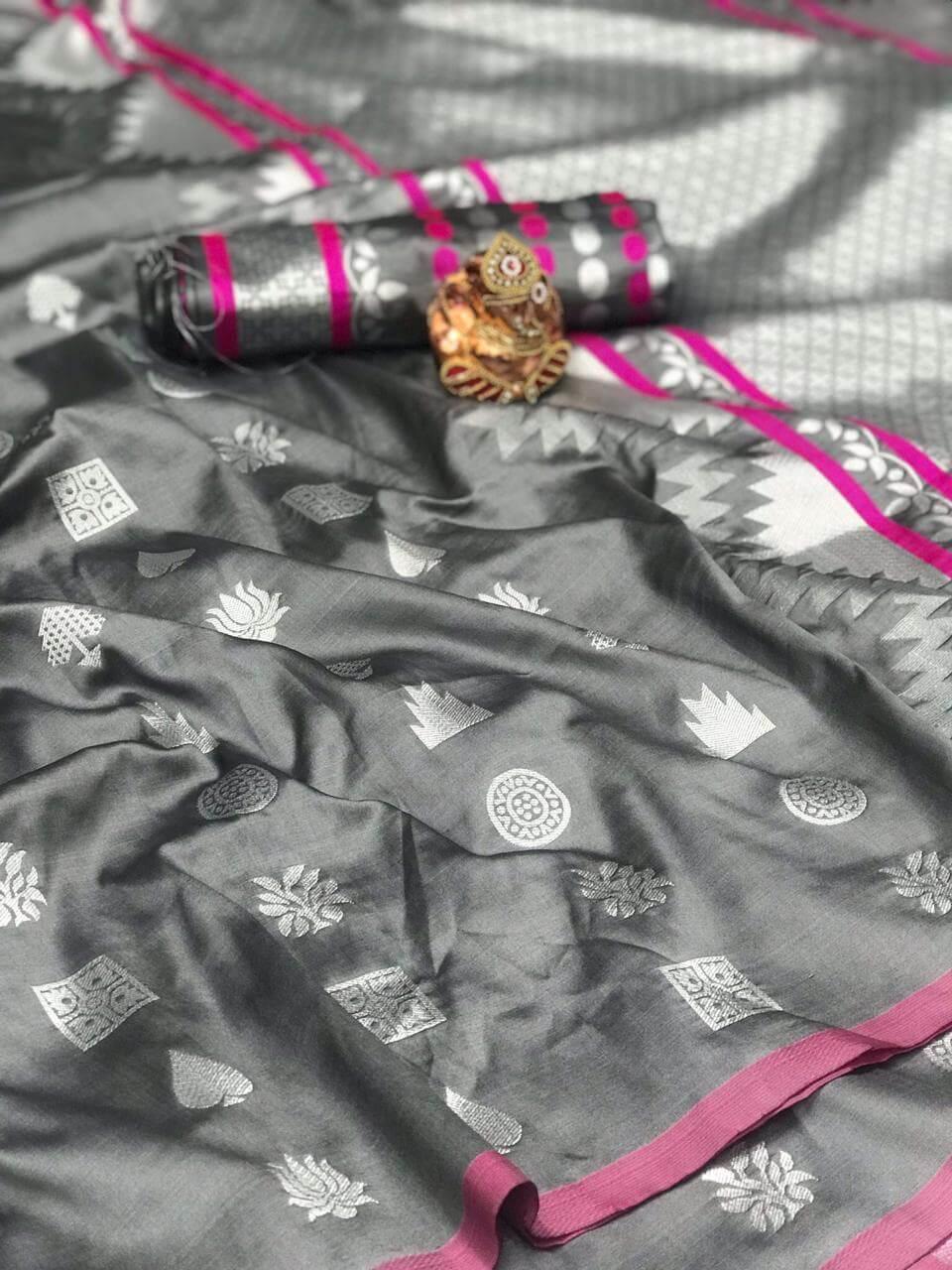 Women's Gorgeous Grey Lichi Silk indian Saree dvz0002423