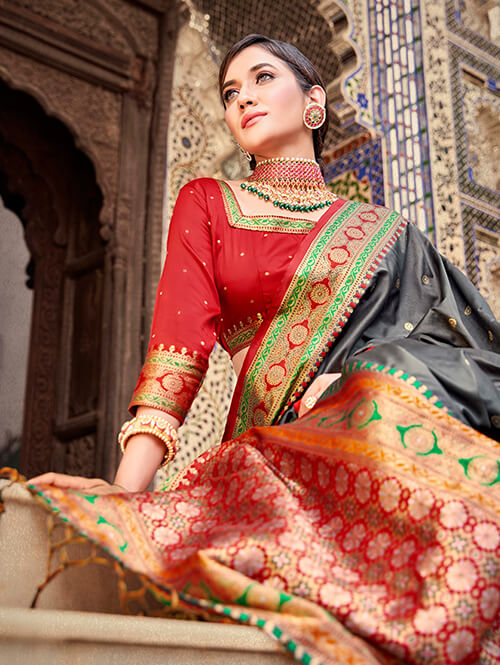Women's Gorgeous Grey Soft silk saree dvz0002660-2