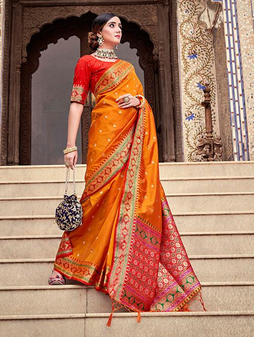Women's Gorgeous Orange Soft silk saree dvz0002661