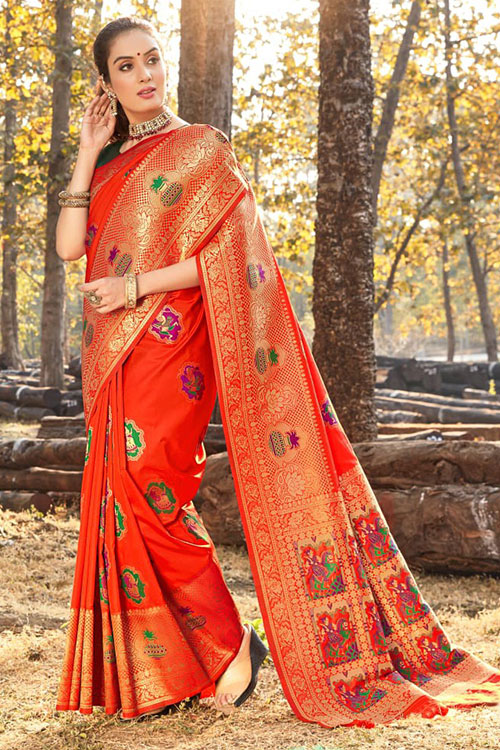 Women's Gorgeous Orange Soft silk saree - silk sarees online india - dvz0001112