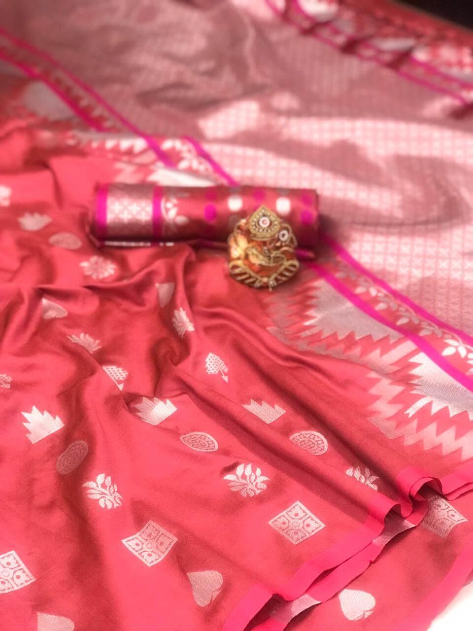 Women's Gorgeous Peach Lichi Silk indian Saree dvz0002424