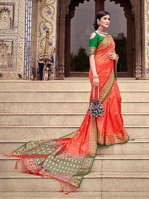 Women's Gorgeous Peach Soft silk saree dvz0002662-2