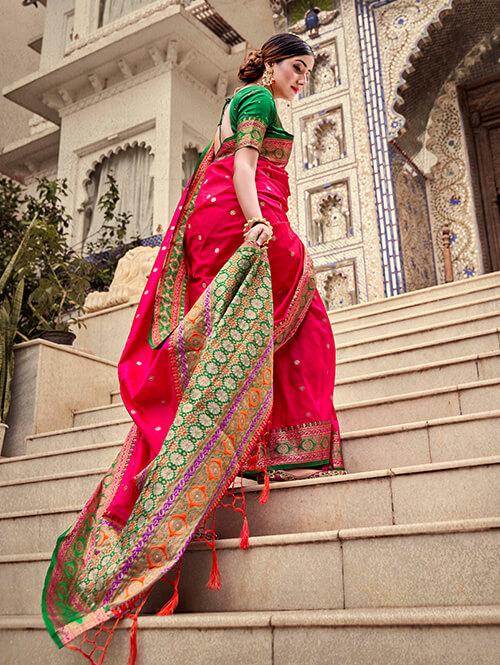 Women's Gorgeous Pink Soft silk saree dvz0002663-2