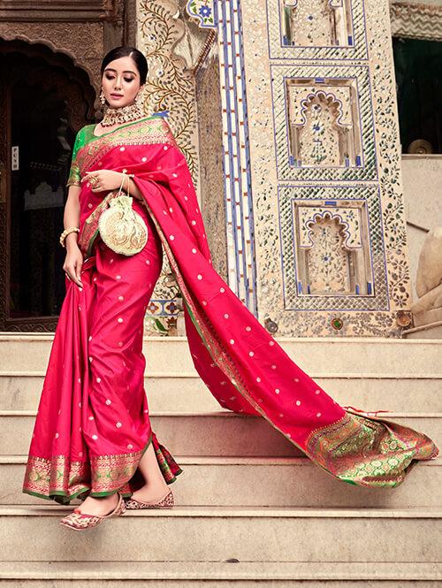 Women's Gorgeous Pink Soft silk saree dvz0002663
