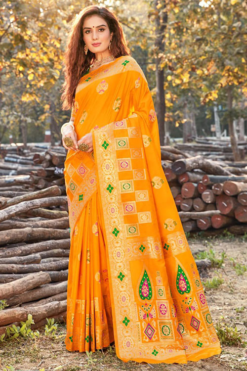 Women's Gorgeous Yellow Soft silk saree - silk sarees online india - dvz0001111