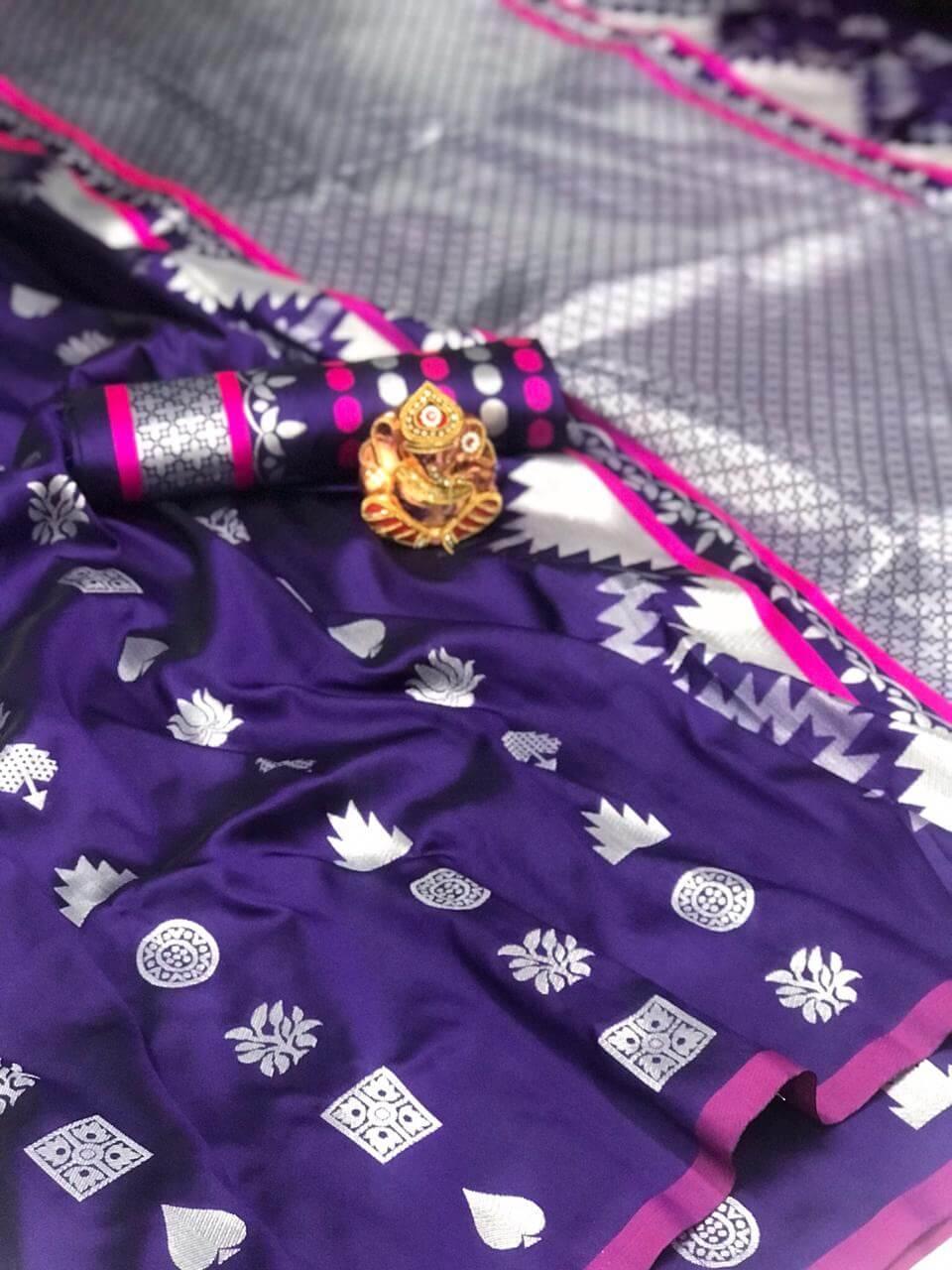 Women's Gorgeous violet Lichi Silk indian Saree dvz0002426