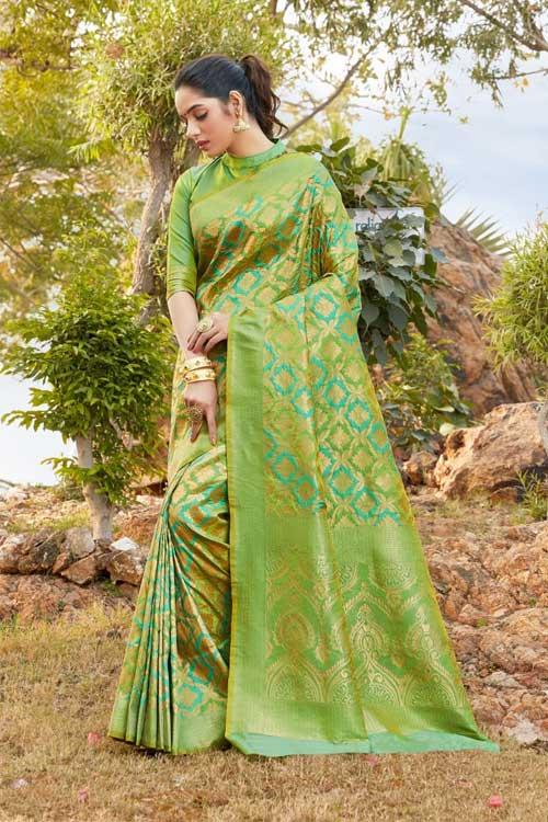 Women's Green Coloured Soft silk saree dvz0001033