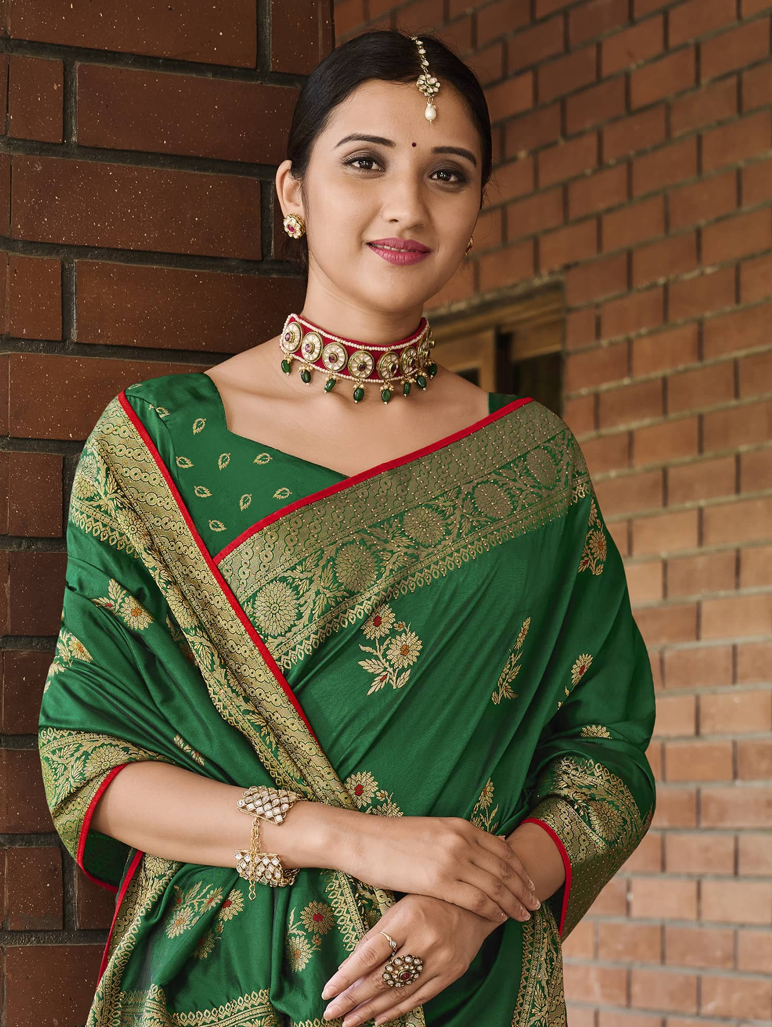 Women's Green Green Soft silk saree dvz0002349-3