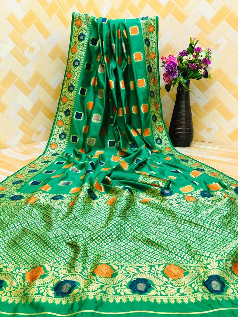 Women's Green zari weaving Party wear saree dvz0001295