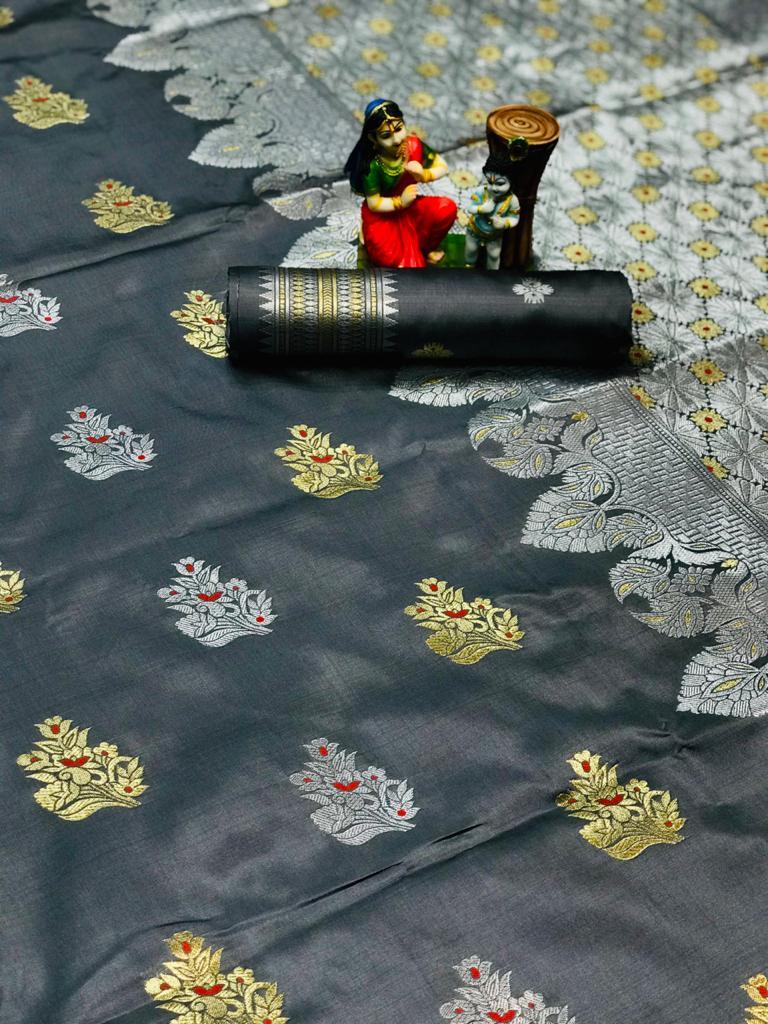 Women's Grey Lichi silk woven saree dvz0002072-2
