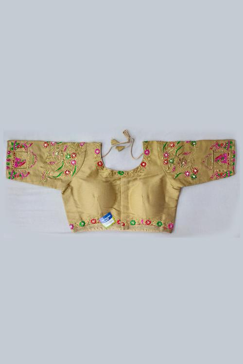 Women's Heavy phantom cloth with thread work and diamond handwork Blouse (Cream) dvz0001025