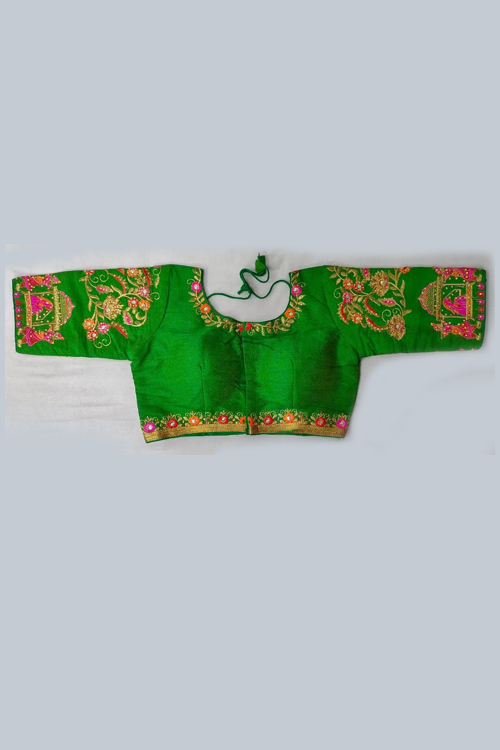 Women's Heavy phantom cloth with thread work and diamond handwork Blouse (Green) dvz0001026
