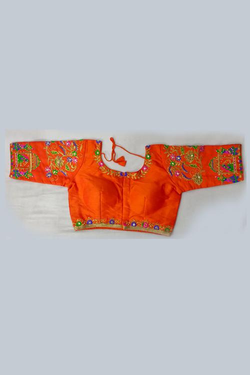 Women's Heavy phantom cloth with thread work and diamond handwork Blouse (Orange) dvz0001029