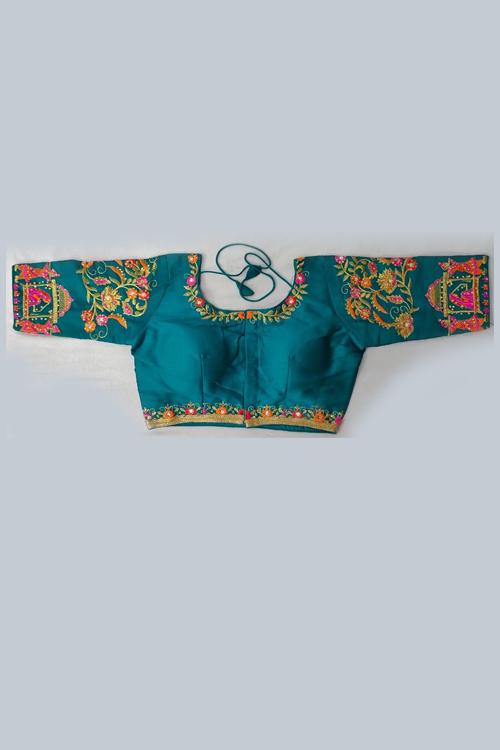 Women's Heavy phantom cloth with thread work and diamond handwork Blouse (Sky Blue) dvz0001030