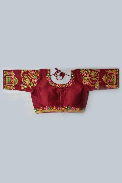Women's Heavy phantom cloth with thread work and diamond handwork Blouse (maroon) dvz0001027