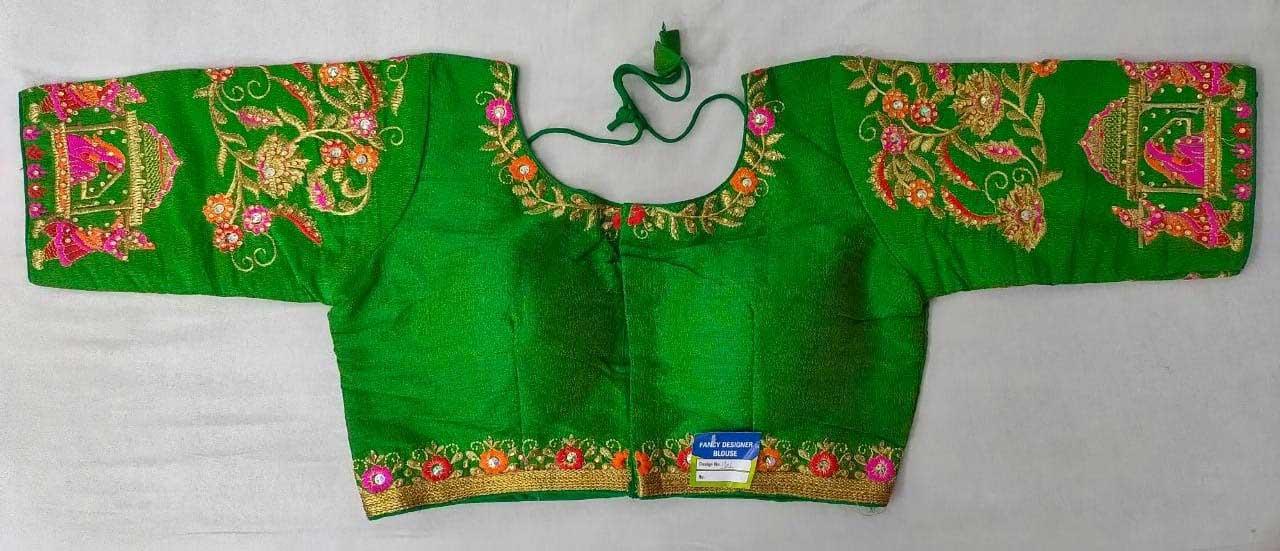 Women's Heavy phantom cloth with thread work and diamond handwork Blouse original image(Green) dvz0001026