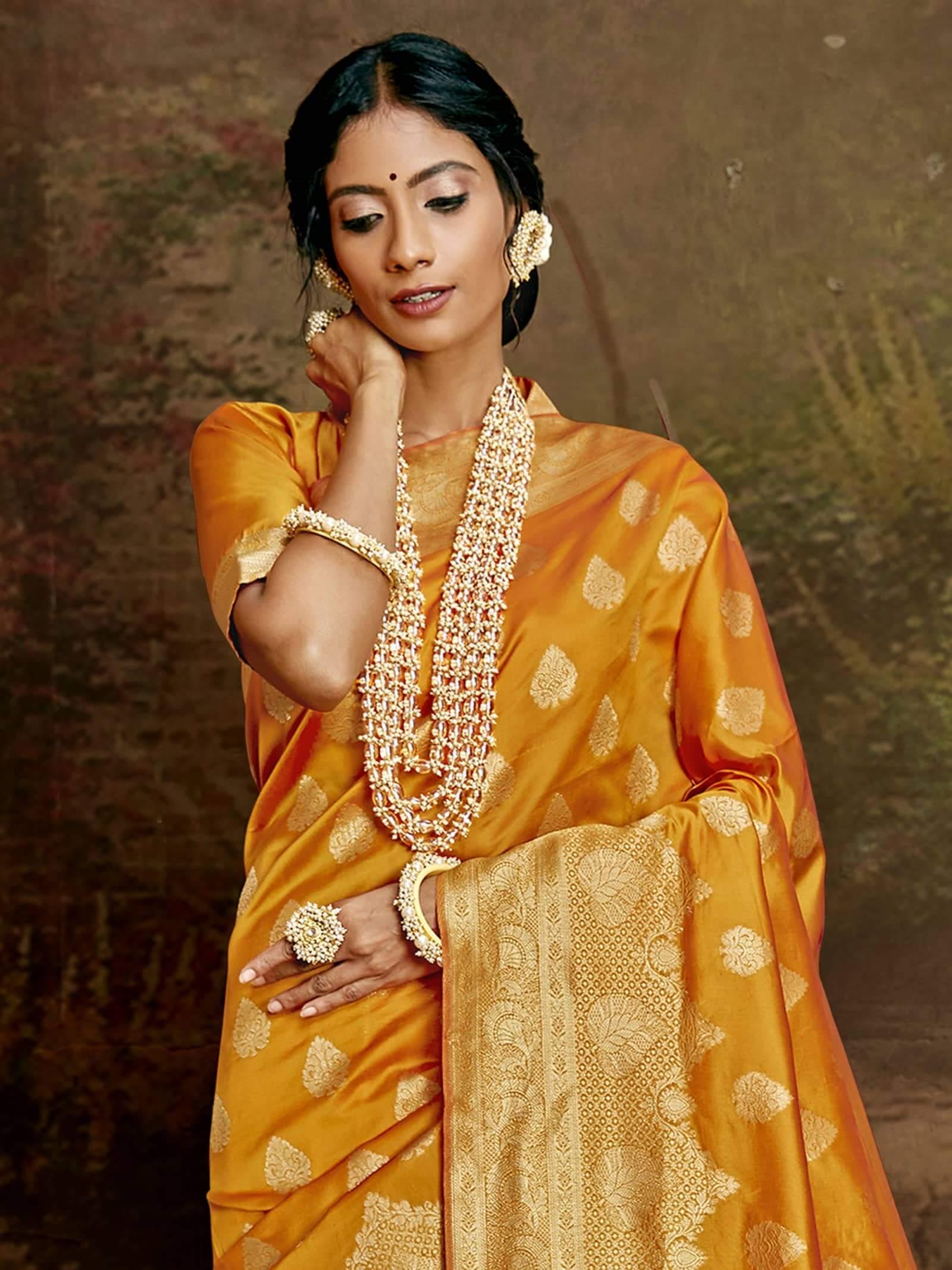 Women's Jamdani silk saree in Yellow dvz0002409-2