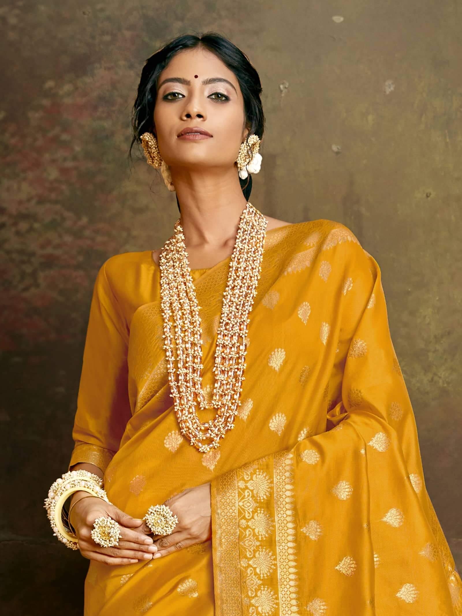 Women's Jamdani silk saree in Yellow dvz0002410