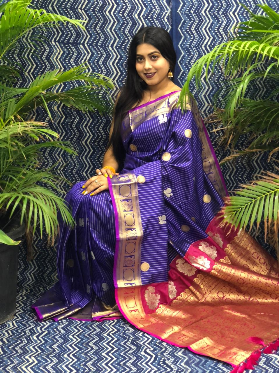 Women's Kanchipuram silk saree in Purple dvz0002348