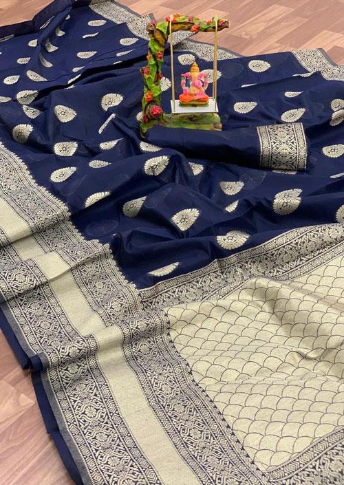 Women's Linen silk saree with Blouse (Blue) dvz000031