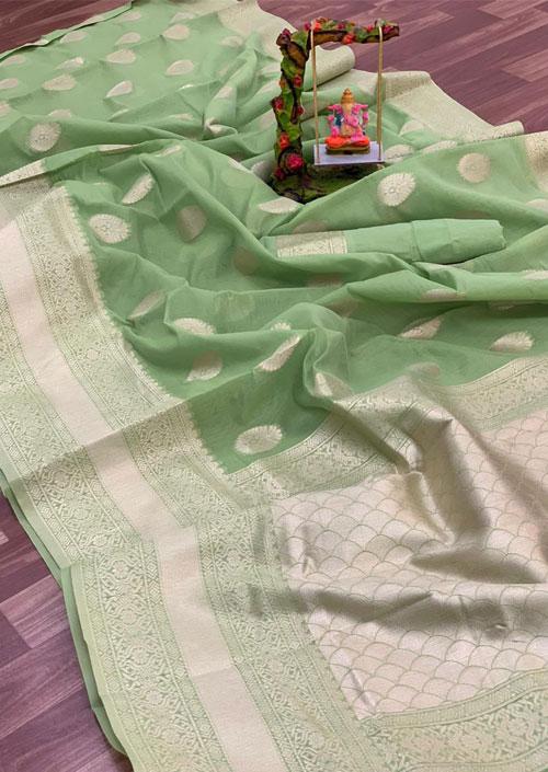 Women's Linen silk saree with Blouse (Green) dvz000032