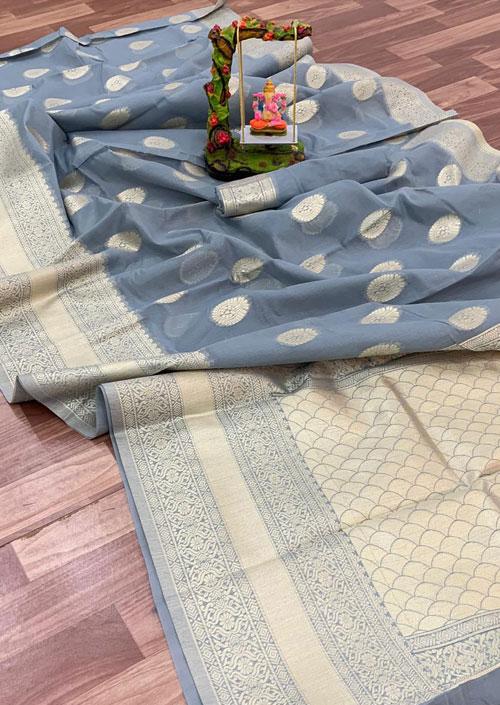 Women's Linen silk saree with Blouse (Grey) dvz000033
