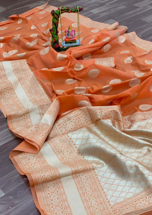 Women's Linen silk saree with Blouse (Orange) dvz000034