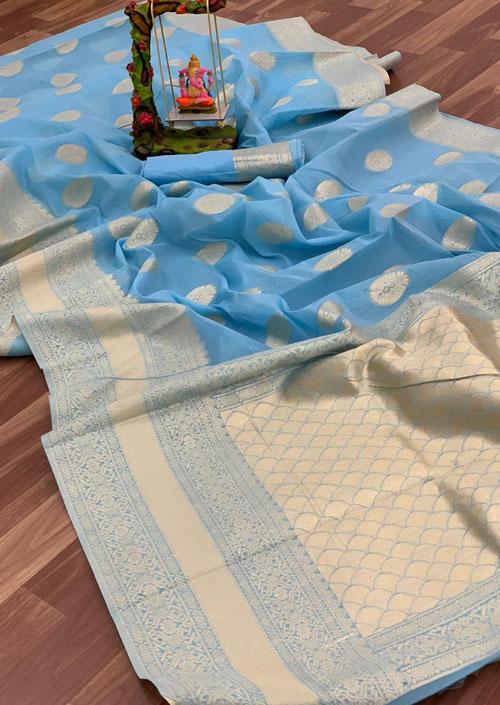 Women's Linen silk saree with Blouse (Sky Blue) dvz000036